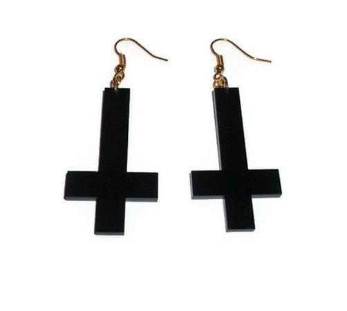 Inverted Cross Earrings Black Acrylic Dangle Earrings Laser   Etsy