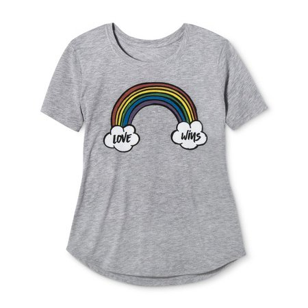 Pride Adult Short Sleeve Love Wins Rainbow T-Shirt - Fancy Heather