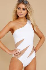Sexy White Swimsuit - Off The Shoulder One-Piece - Swimwear - $44.00
