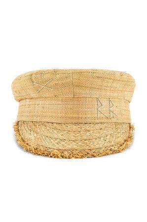 Ruslan Baginskiy Monogram Embroidered Baker Boy Cap in Natural Straw | REVOLVE
