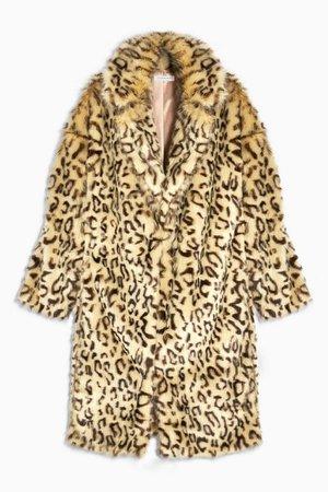 Leopard Print Faux Fur Coat | Topshop