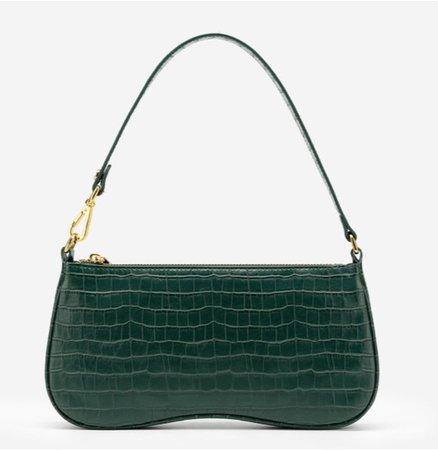 emerald green croc purse