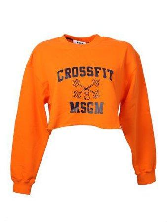 MSGM Logo Print Orange Cotton Cropped Sweater ($122)