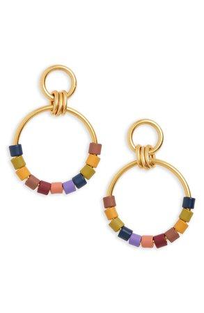 Madewell Rainbow Beaded Statement Hoop Earrings | Nordstrom