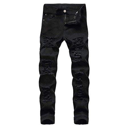 Amazon.com: MODOQO Men's Straight Leg Jeans,Simple Fashion Premium Cotton Skinny Ripped Denim Pants(Black,CN-28/US-26): Clothing