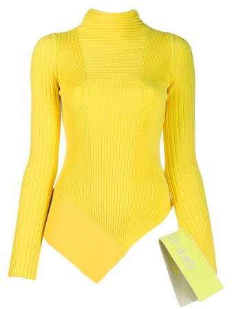 Off-White Yellow Ribbed Sweater