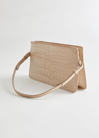 Leather Croc Embossed Shoulder Bag - Light Beige - Shoulderbags - & Other Stories