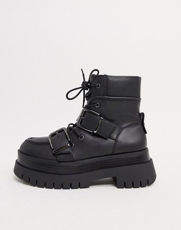 Bershka buckle detail chunky boots in black | ASOS