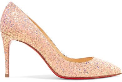 Pigalle Follies 85 Glittered Leather Pumps - Baby pink