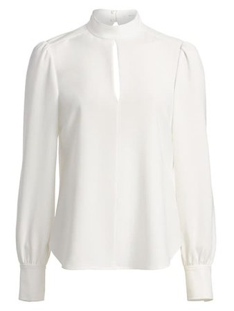 A.L.C. Marina Long-Sleeve Crepe Blouse on SALE | Saks OFF 5TH