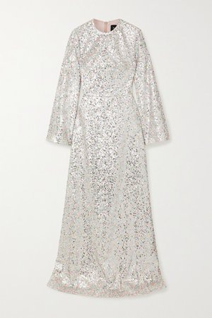 Iridescent Sequined Tulle Gown - Silver