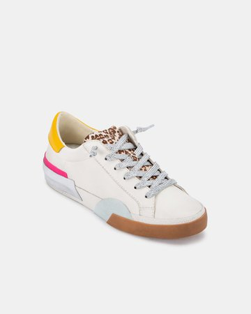 ZINA SNEAKERS IN WHITE MULTI LEATHER – Dolce Vita
