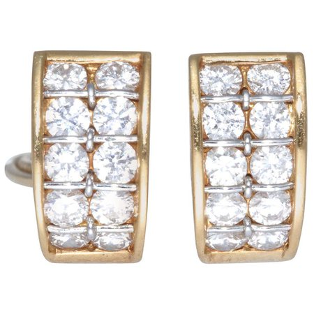 Vintage Cartier Diamond 18 Karat Gold Earrings For Sale at 1stDibs