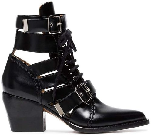 black Rylee 60 leather buckle ankle boots