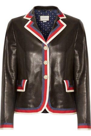 Gucci   Grosgrain-trimmed appliquéd leather blazer   NET-A-PORTER.COM