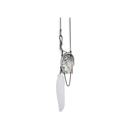 SILVER NECKLACE WITH ROPE, SEASHELL AND WHITE FEATHER   Ann Demeulemeester