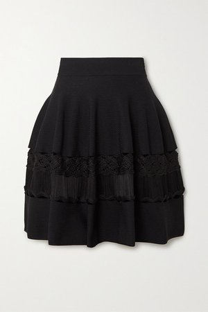 Crochet-paneled Ribbed Stretch-knit Mini Skirt - Black