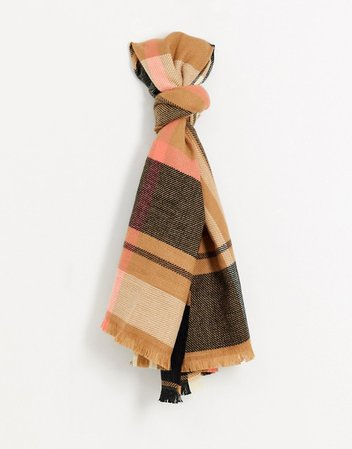 River Island check printed scarf in beige | ASOS