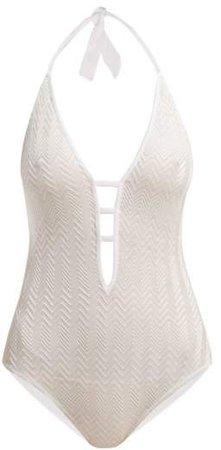 Mare - Zigzag Knit Halterneck Swimsuit - Womens - White