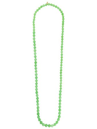 Shop green Chanel Pre-Owned spheres long necklace with Express Delivery - Farfetch