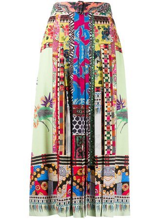 Etro Print Mix Pleated Skirt - Farfetch