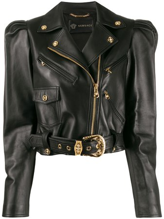 Versace Cropped Biker Jacket - Farfetch