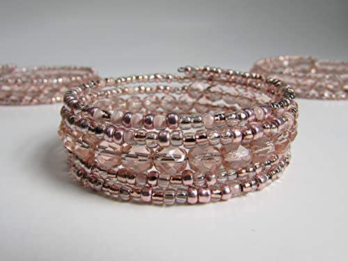 Amazon.com: Handmade Rose Gold Colored Beaded Memory Wire Wrap Bracelet in Two Sizes: Handmade