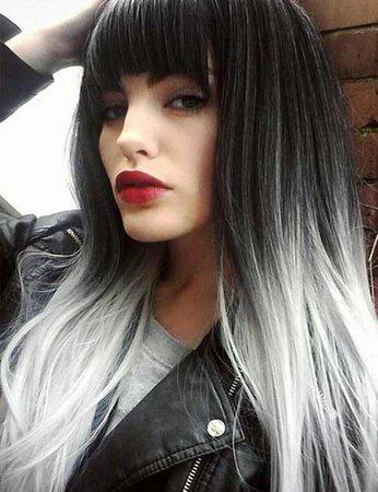 Black Hair Long With Bangs & White Tips