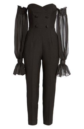 Lavish Alice Off the Shoulder Sheer Balloon Long Sleeve Jumpsuit | black