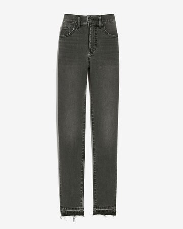 Mid Rise Supersoft Black Raw Released Hem Skinny Jeans | Express