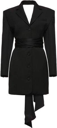 Magda Butrym Silk Wool Belted Blazer Dress