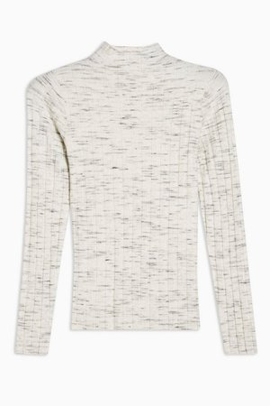 PETITE Knitted Marl Funnel Neck Top | Topshop