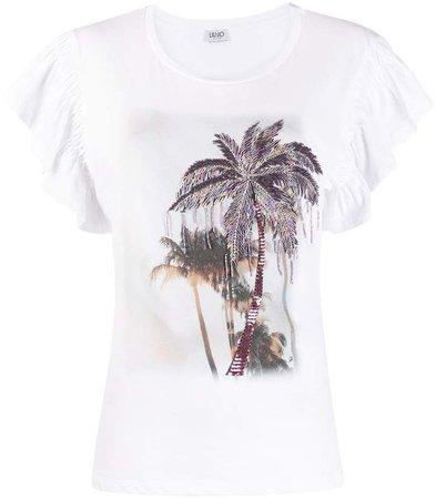 palm-print beaded T-shirt