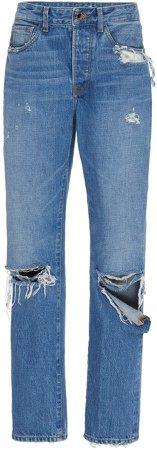 Brandon Maxwell Distressed High-Rise Boyfriend Jeans Size: 0