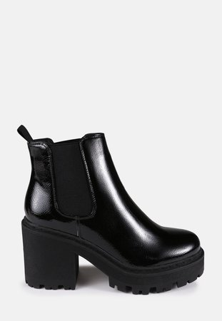 Black Patent Cleated Sole Chelsea Boots | Missguided