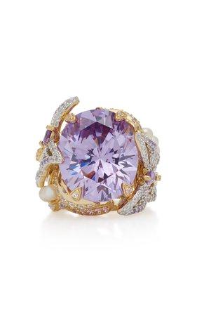 Anabela Chan Lilac Swallowtail 18K Gold Vermeil Multi-Stone Ring