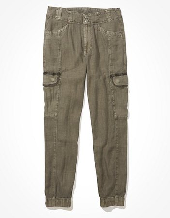 AE Linen Relaxed Mom Jogger Pant green