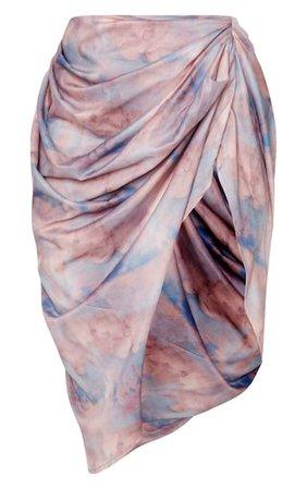 Blue Renaissance Ruched Midi Skirt | PrettyLittleThing USA