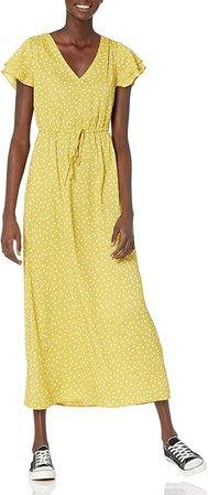 Amazon.com: Goodthreads Women's Georgette Ruffle-Sleeve Maxi Dress: Clothing