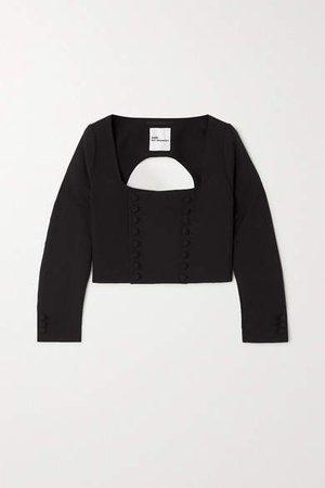 Open-back Wool Top - Black