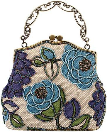 ILISHOP Women's Vintage Luxury Printing Beaded Women Handbag Evening Bag (Blue): Handbags: Amazon.com