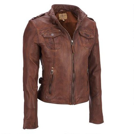 Light Brown Womens Leather Jacket