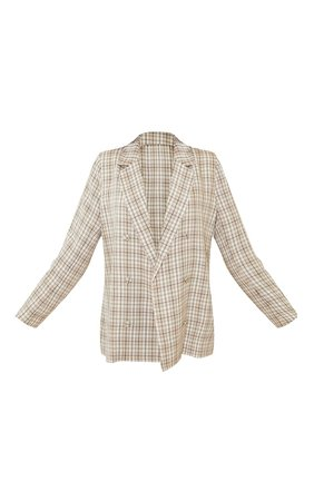 Stone Check Woven Triple Breasted Oversized Blazer   PrettyLittleThing USA