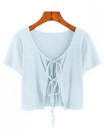 [46% OFF] [POPULAR] 2020 ZAFUL Ribbed Tie Front Crop T-shirt In LIGHT BLUE | ZAFUL