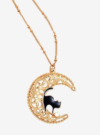 Cat Crescent Moon Necklace