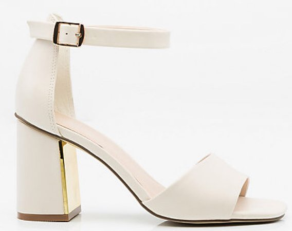 Off-White Sandal Pumps Strappy Block Heel