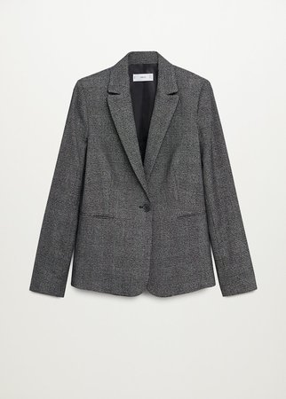 Micro houndstooth suit blazer - Women   Mango USA