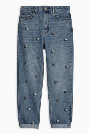Mid Blue Yin Yang Mom Jeans | Topshop