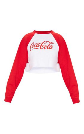 Red Coca Cola Contrast Sleeve Crop Sweater | PrettyLittleThing