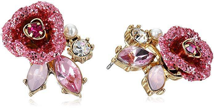 """Betsey Johnson """"Glitter Rose"""" Mismatch Stud Earrings: Jewelry"""